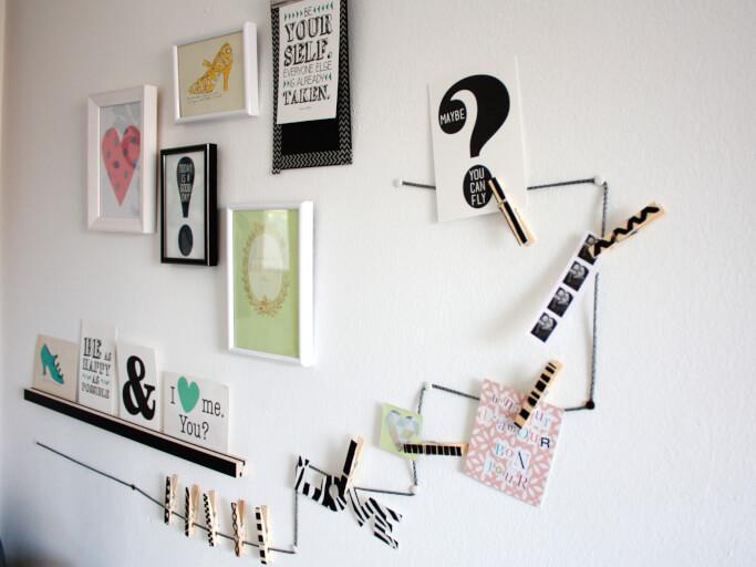 Schreibtisch makeover wandgalerie und memo schnur diy - Kettenhalter wand ...