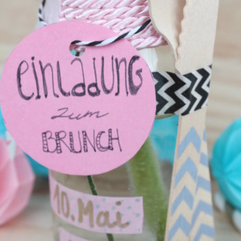 Muttertag Brunch Einladung in der Flasche 5