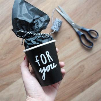 DIY Geschenkverpackung schwarz weiss