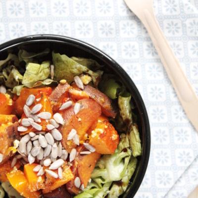Salat mit gebackenem Kürbis und Süßkartoffeln