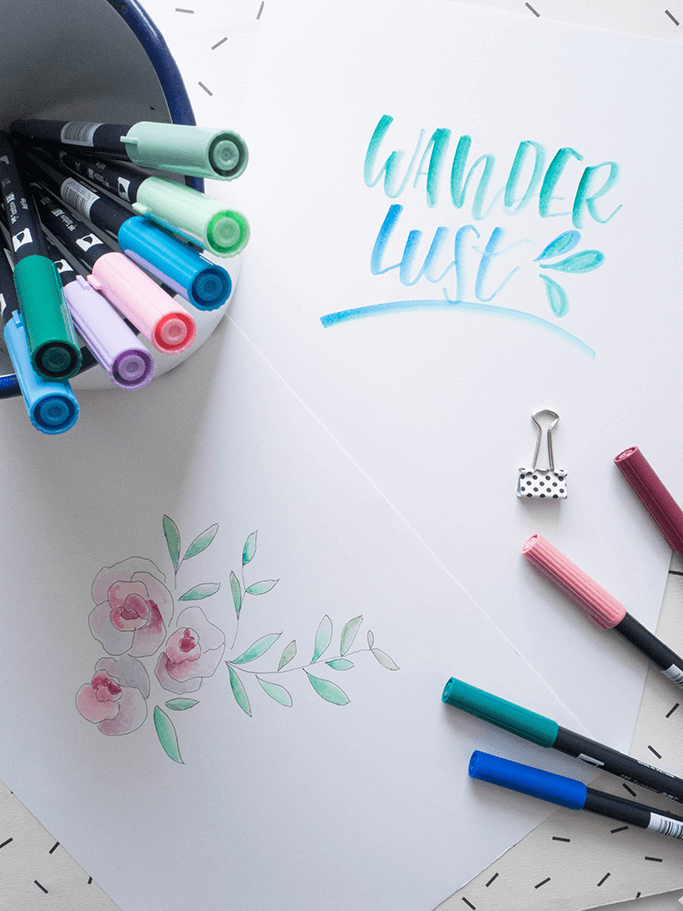 Lettering: Blending mit Brushpens im Aquarell Look