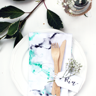 DIY: Stoffservietten in Aquarell-Optik