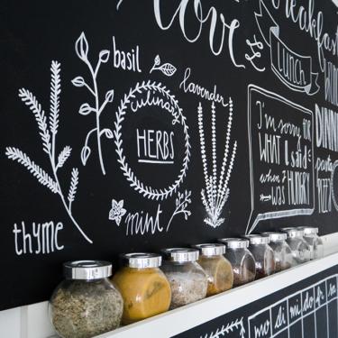 Chalk Lettering Küche Tafelwand bemalen mit Handlettering
