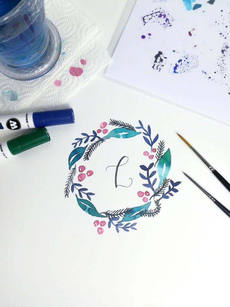 Weihnachtliche Aquarell Kränze mit Brushpens gestalten