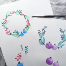 Weihnachtliche Aquarell Kränze mit Brushpens