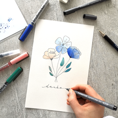 Dankeskarte mit Botanical Illustration