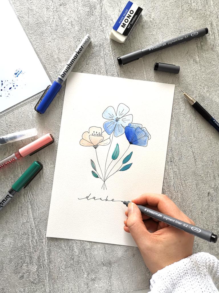 Dankeskarte mit Botanical Illustration gestalten