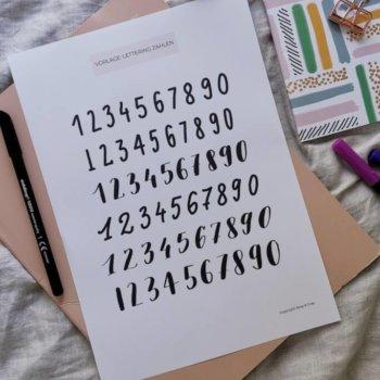 Lettering Zahlen (mit Vorlage)
