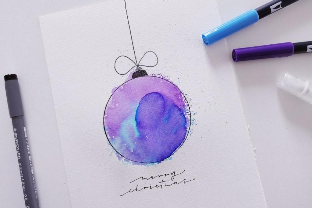 Weihnachtskarte gestalten mit Brushpens und Aquarell Look