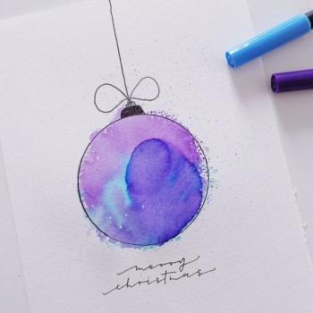 Weihnachtskarte gestalten: Christbaumkugel im Aquarell Look